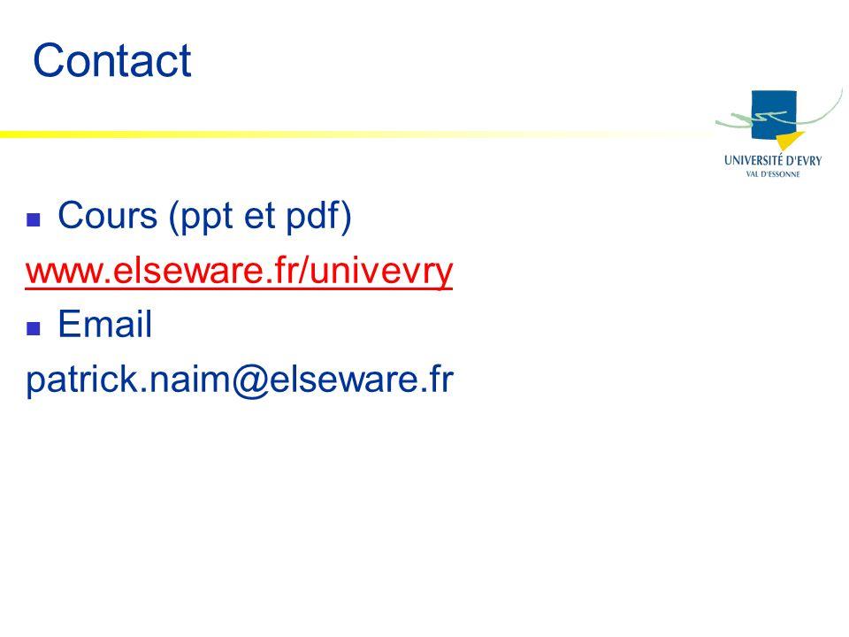 Contact Cours (ppt et pdf) www.elseware.fr/univevry Email patrick.naim@elseware.fr