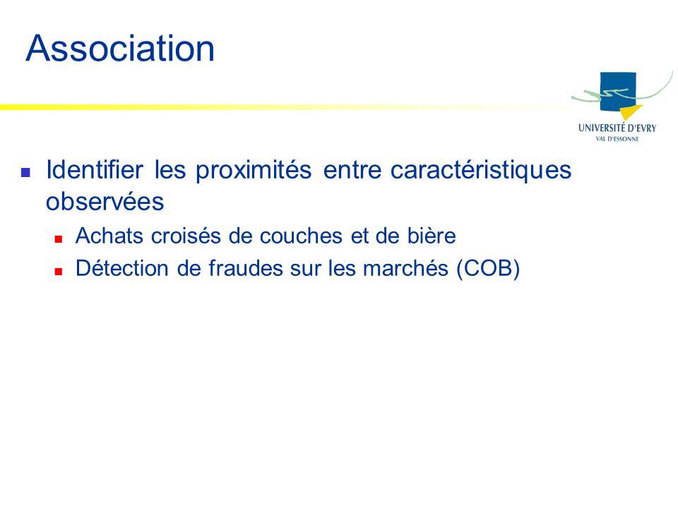 Association Identifier les proximités entre caractéristiques observées Achats croisés de couches et de bière Détection de fraudes sur les marchés (COB
