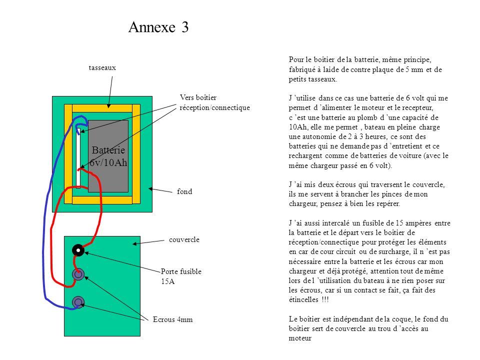 Annexe 3 Batterie 6v/10Ah Vers boîtier réception/connectique tasseaux fond couvercle Porte fusible 15A Ecrous 4mm Pour le boîtier de la batterie, même