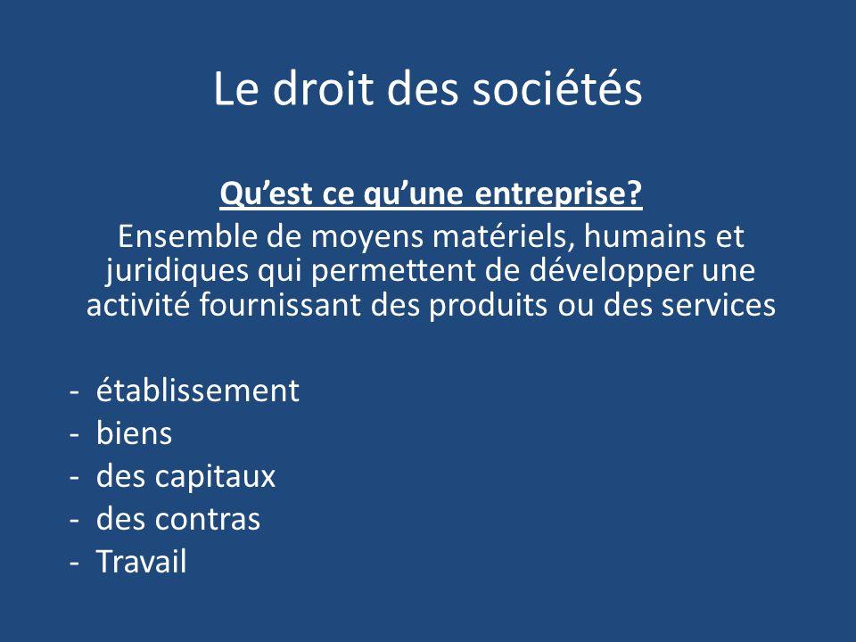 Le droit des sociétés Quest ce quune entreprise.
