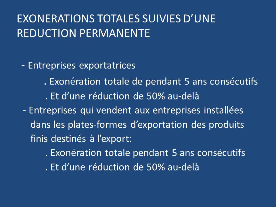 EXONERATIONS TOTALES SUIVIES DUNE REDUCTION PERMANENTE - Entreprises exportatrices.