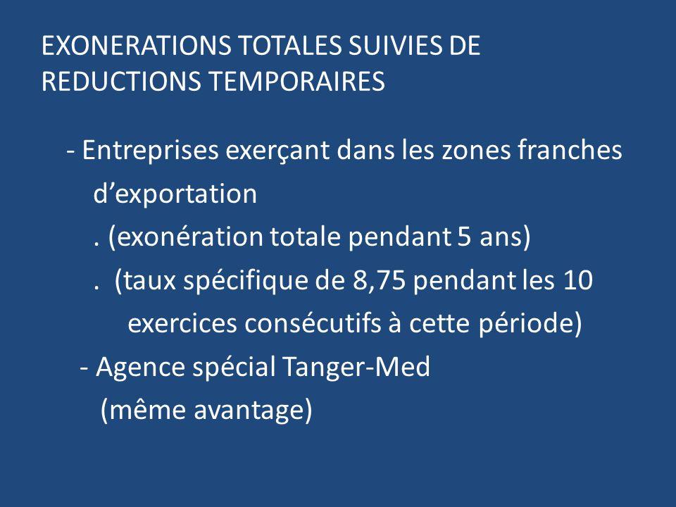 EXONERATIONS TOTALES SUIVIES DE REDUCTIONS TEMPORAIRES - Entreprises exerçant dans les zones franches dexportation.