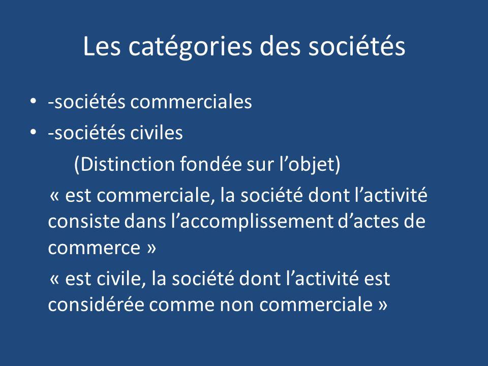 Les catégories des sociétés -sociétés commerciales -sociétés civiles (Distinction fondée sur lobjet) « est commerciale, la société dont lactivité consiste dans laccomplissement dactes de commerce » « est civile, la société dont lactivité est considérée comme non commerciale »