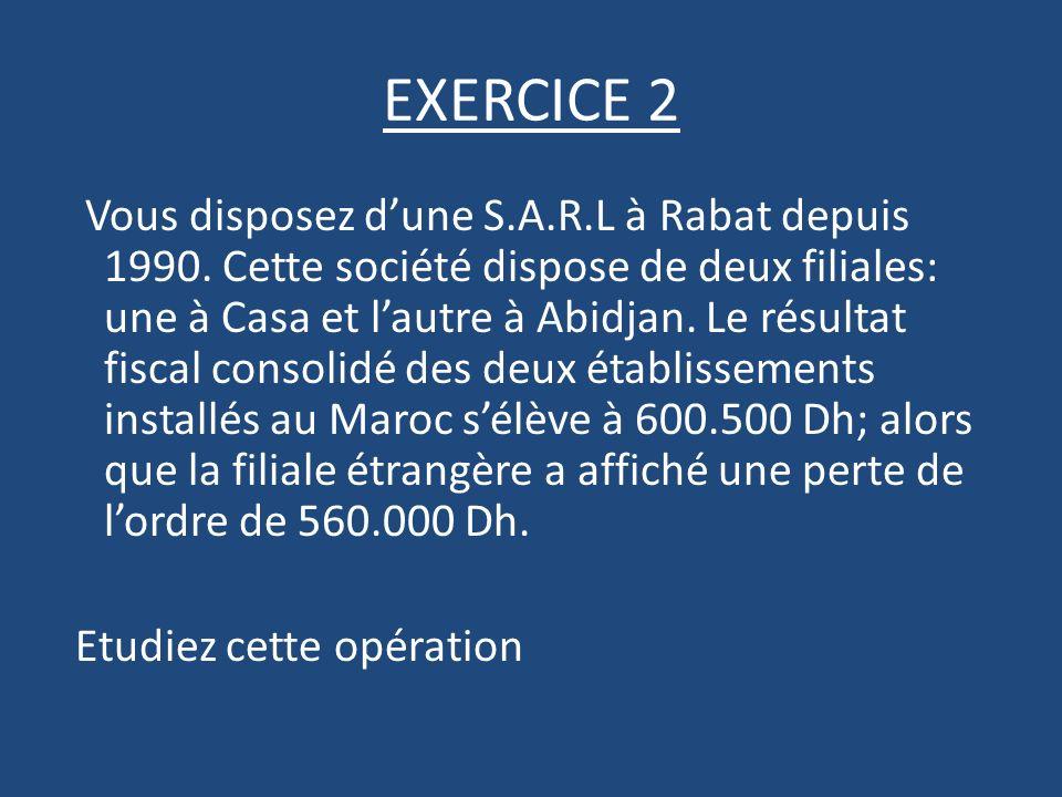 EXERCICE 2 Vous disposez dune S.A.R.L à Rabat depuis 1990.