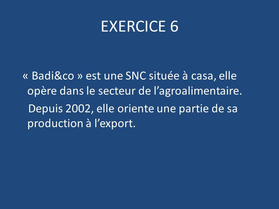 EXERCICE 6 « Badi&co » est une SNC située à casa, elle opère dans le secteur de lagroalimentaire.