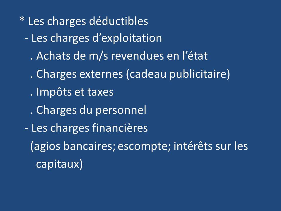 * Les charges déductibles - Les charges dexploitation.