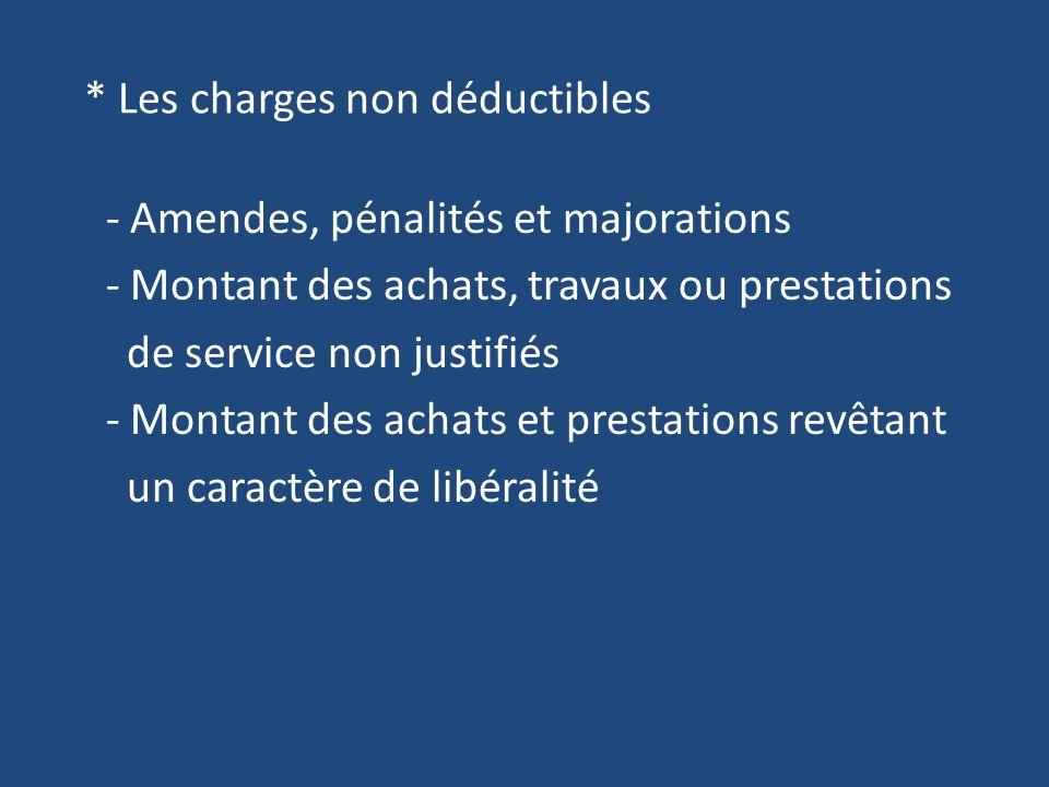 * Les charges non déductibles - Amendes, pénalités et majorations - Montant des achats, travaux ou prestations de service non justifiés - Montant des achats et prestations revêtant un caractère de libéralité