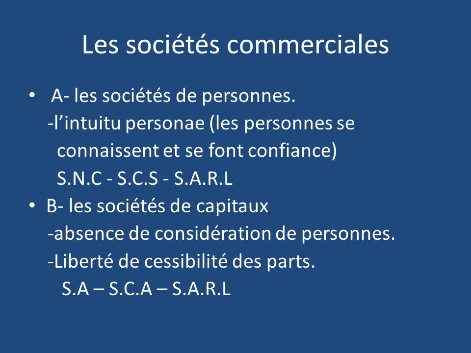 Les sociétés commerciales A- les sociétés de personnes.