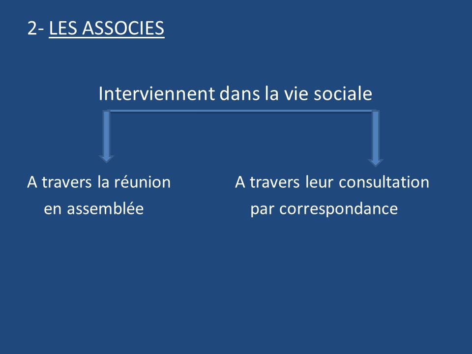 2- LES ASSOCIES Interviennent dans la vie sociale A travers la réunion A travers leur consultation en assemblée par correspondance