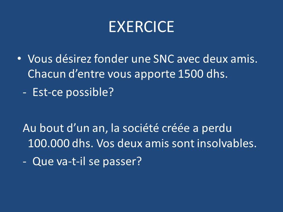 EXERCICE Vous désirez fonder une SNC avec deux amis.
