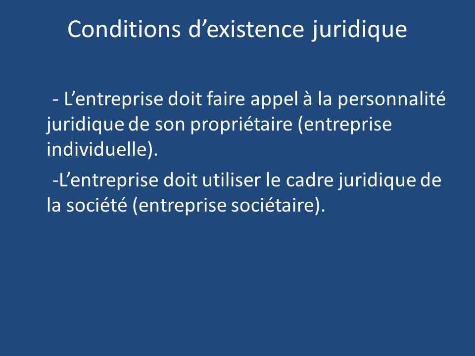 Conditions dexistence juridique - Lentreprise doit faire appel à la personnalité juridique de son propriétaire (entreprise individuelle).