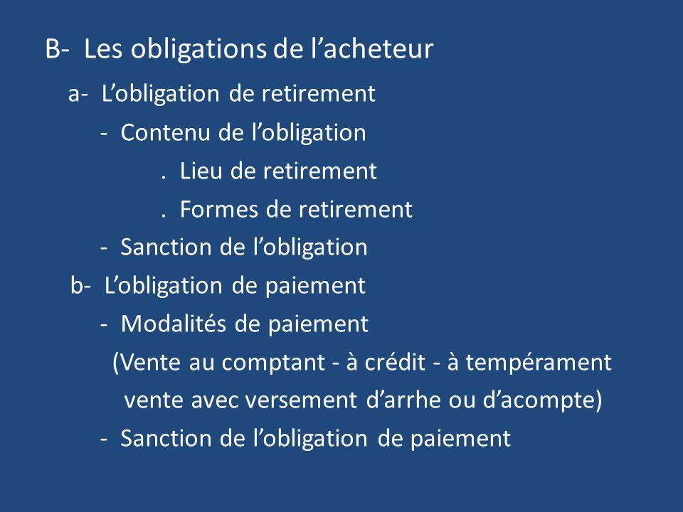 B- Les obligations de lacheteur a- Lobligation de retirement - Contenu de lobligation.