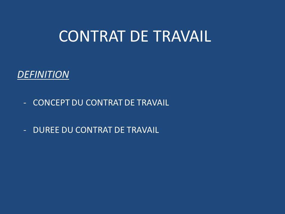 CONTRAT DE TRAVAIL DEFINITION - CONCEPT DU CONTRAT DE TRAVAIL - DUREE DU CONTRAT DE TRAVAIL