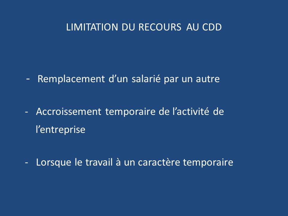 LIMITATION DU RECOURS AU CDD - Remplacement dun salarié par un autre - Accroissement temporaire de lactivité de lentreprise - Lorsque le travail à un caractère temporaire