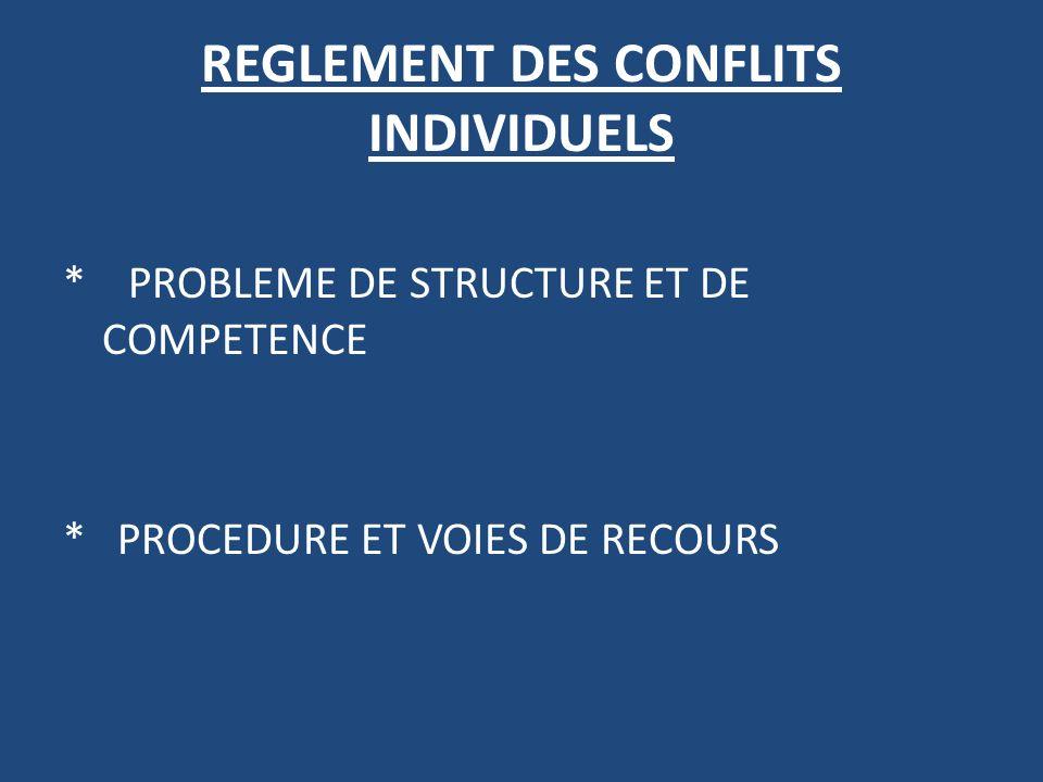 REGLEMENT DES CONFLITS INDIVIDUELS * PROBLEME DE STRUCTURE ET DE COMPETENCE * PROCEDURE ET VOIES DE RECOURS