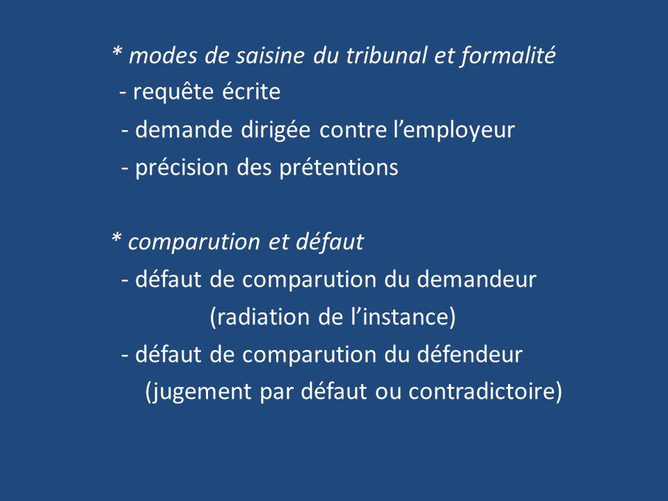 * modes de saisine du tribunal et formalité - requête écrite - demande dirigée contre lemployeur - précision des prétentions * comparution et défaut - défaut de comparution du demandeur (radiation de linstance) - défaut de comparution du défendeur (jugement par défaut ou contradictoire)