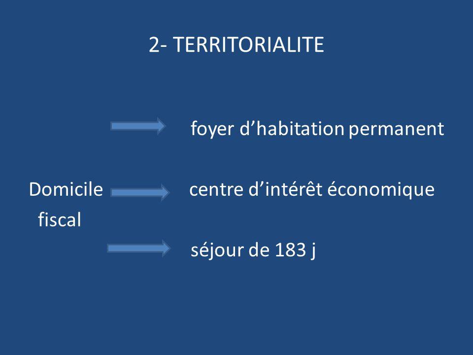 2- TERRITORIALITE foyer dhabitation permanent Domicile centre dintérêt économique fiscal séjour de 183 j