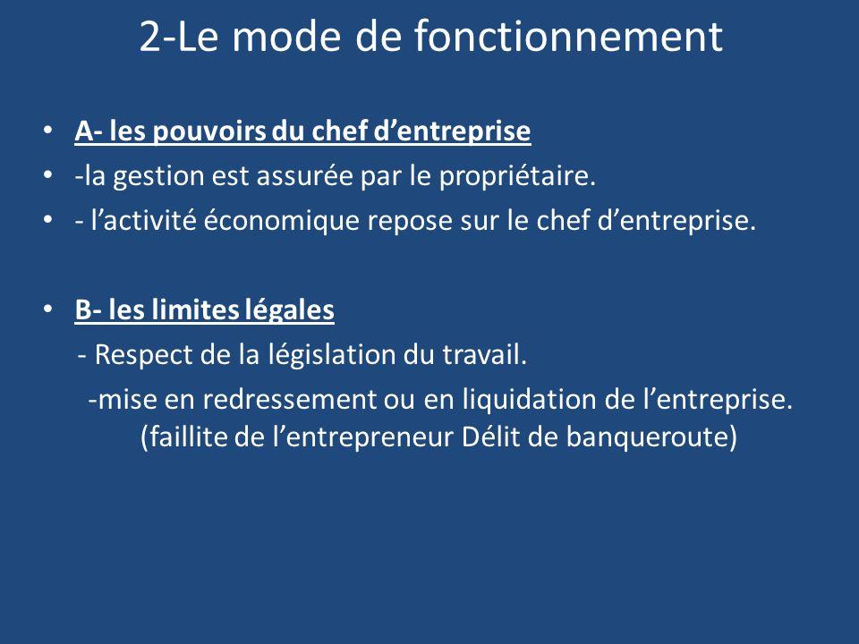 2-Le mode de fonctionnement A- les pouvoirs du chef dentreprise -la gestion est assurée par le propriétaire.