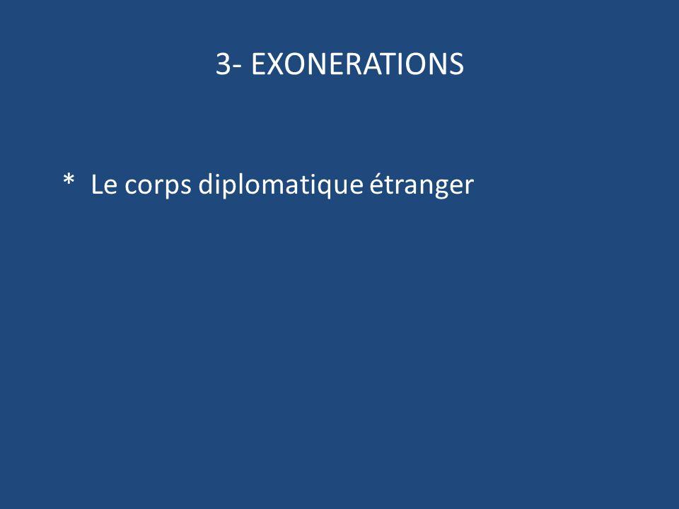 3- EXONERATIONS * Le corps diplomatique étranger