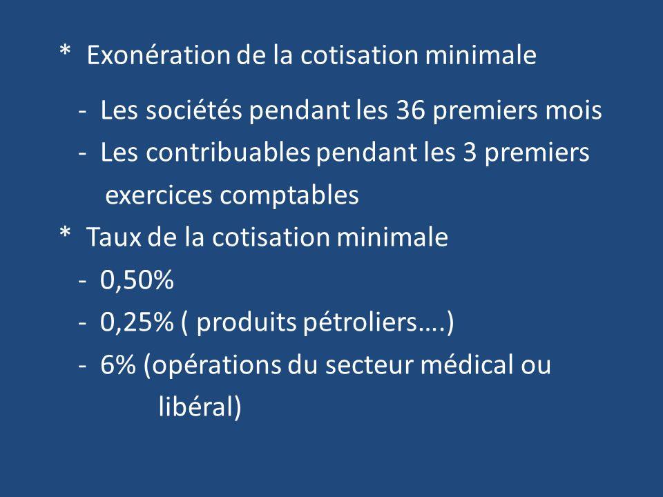 * Exonération de la cotisation minimale - Les sociétés pendant les 36 premiers mois - Les contribuables pendant les 3 premiers exercices comptables * Taux de la cotisation minimale - 0,50% - 0,25% ( produits pétroliers….) - 6% (opérations du secteur médical ou libéral)