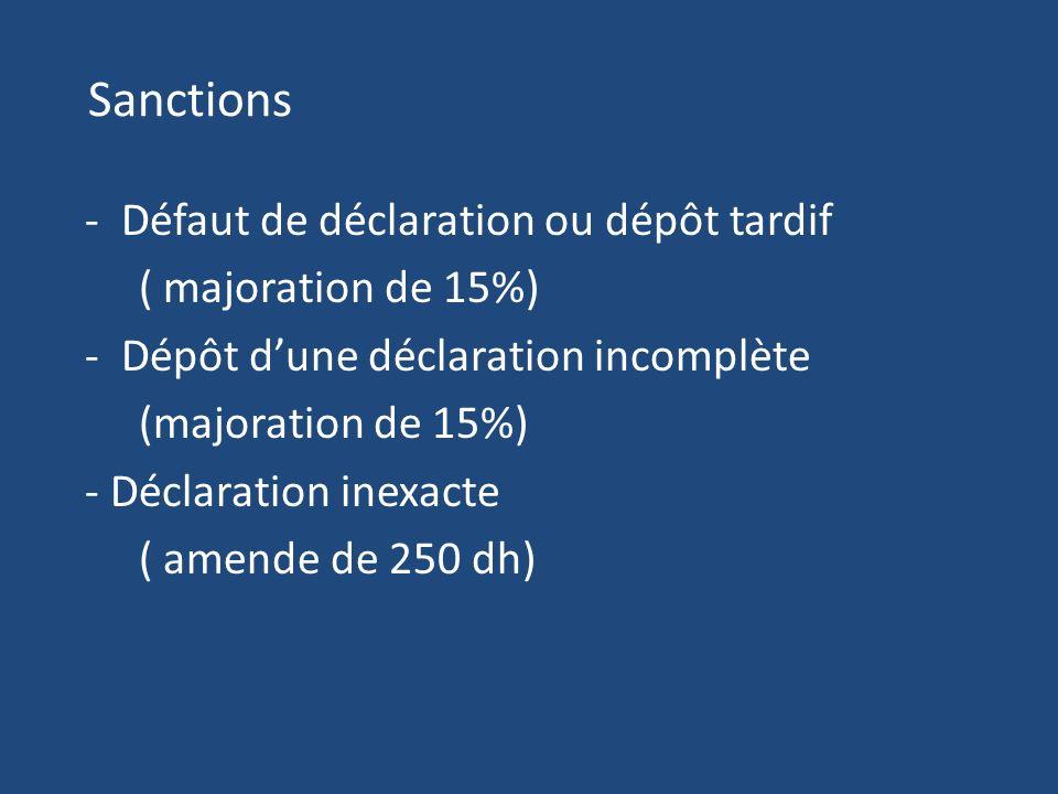 Sanctions - Défaut de déclaration ou dépôt tardif ( majoration de 15%) - Dépôt dune déclaration incomplète (majoration de 15%) - Déclaration inexacte ( amende de 250 dh)