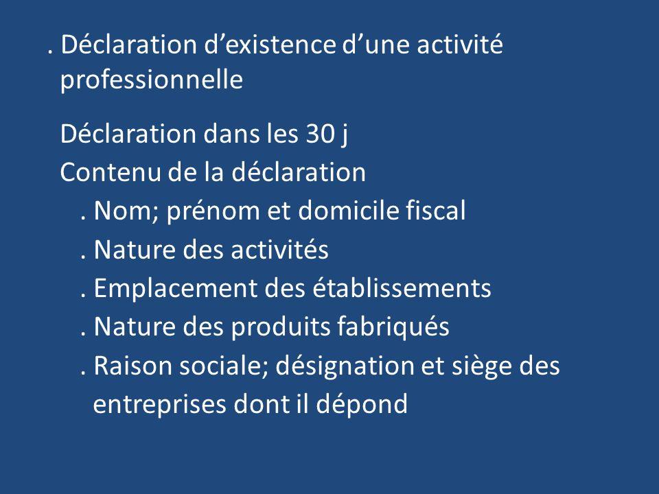 Déclaration dexistence dune activité professionnelle Déclaration dans les 30 j Contenu de la déclaration.