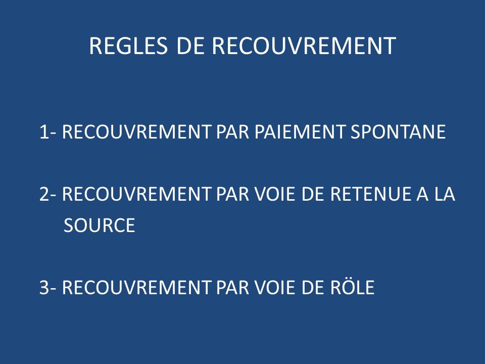 REGLES DE RECOUVREMENT 1- RECOUVREMENT PAR PAIEMENT SPONTANE 2- RECOUVREMENT PAR VOIE DE RETENUE A LA SOURCE 3- RECOUVREMENT PAR VOIE DE RÖLE