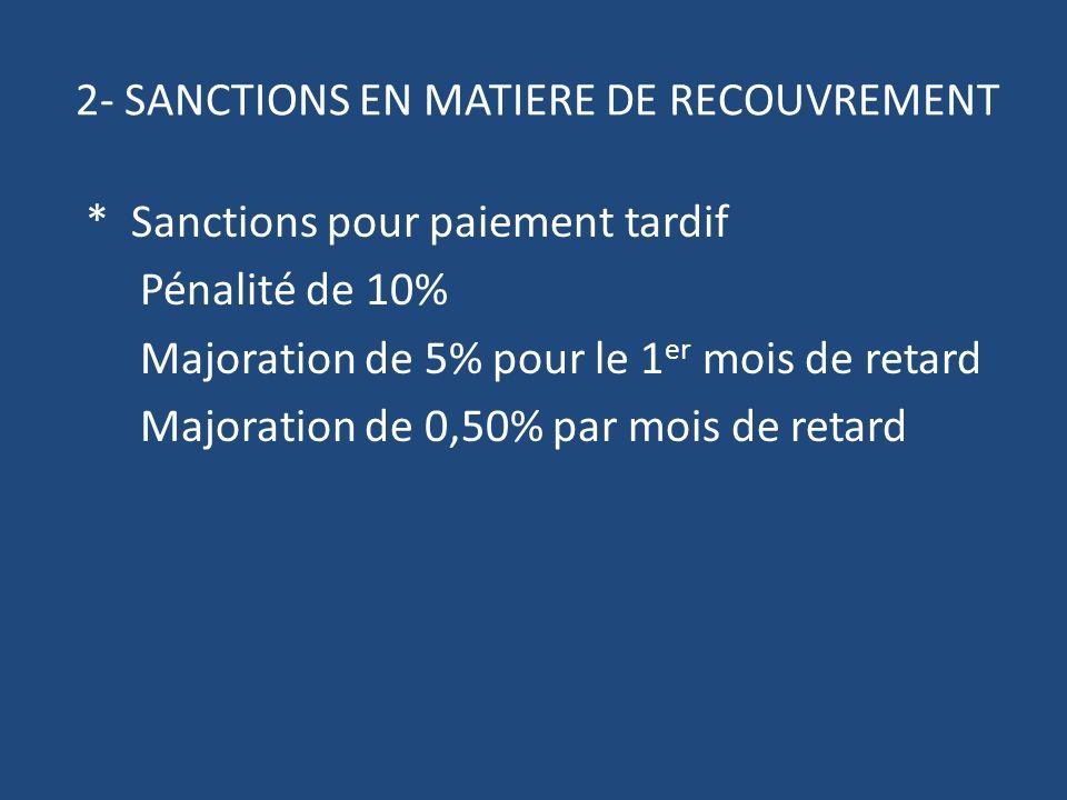 2- SANCTIONS EN MATIERE DE RECOUVREMENT * Sanctions pour paiement tardif Pénalité de 10% Majoration de 5% pour le 1 er mois de retard Majoration de 0,50% par mois de retard