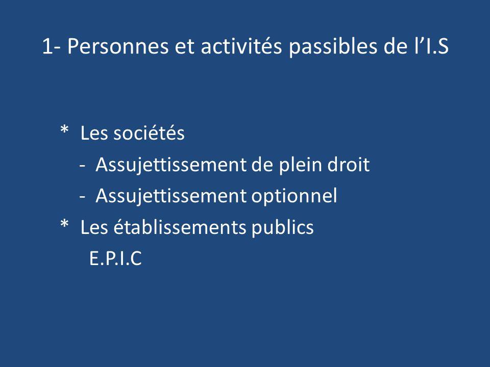1- Personnes et activités passibles de lI.S * Les sociétés - Assujettissement de plein droit - Assujettissement optionnel * Les établissements publics E.P.I.C