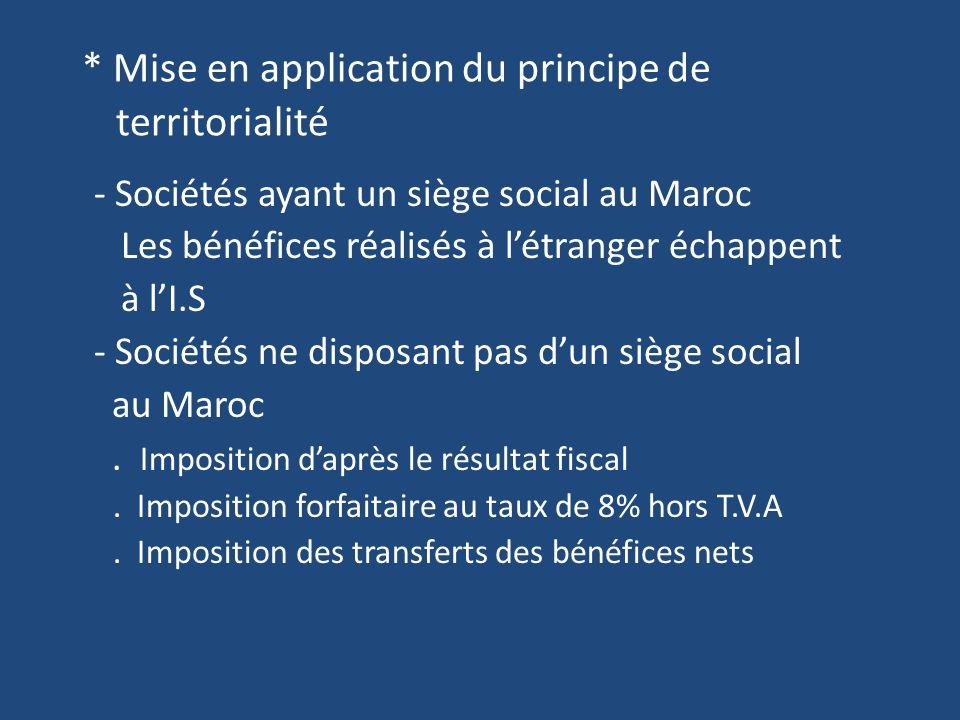 * Mise en application du principe de territorialité - Sociétés ayant un siège social au Maroc Les bénéfices réalisés à létranger échappent à lI.S - Sociétés ne disposant pas dun siège social au Maroc.