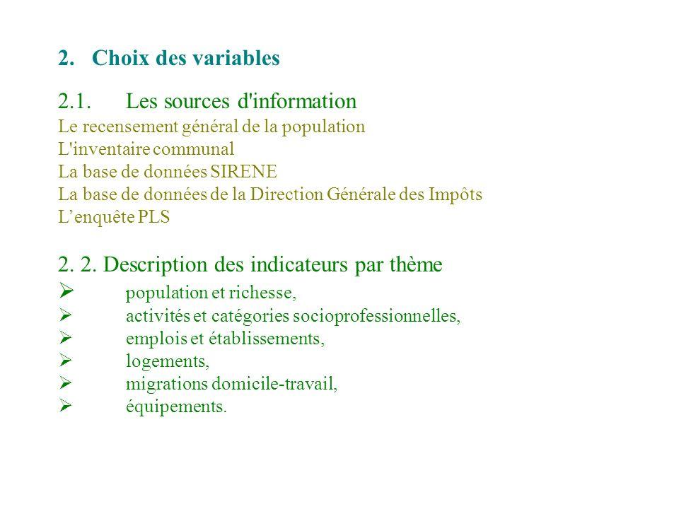 2.Choix des variables 2.1.Les sources d'information Le recensement général de la population L'inventaire communal La base de données SIRENE La base de