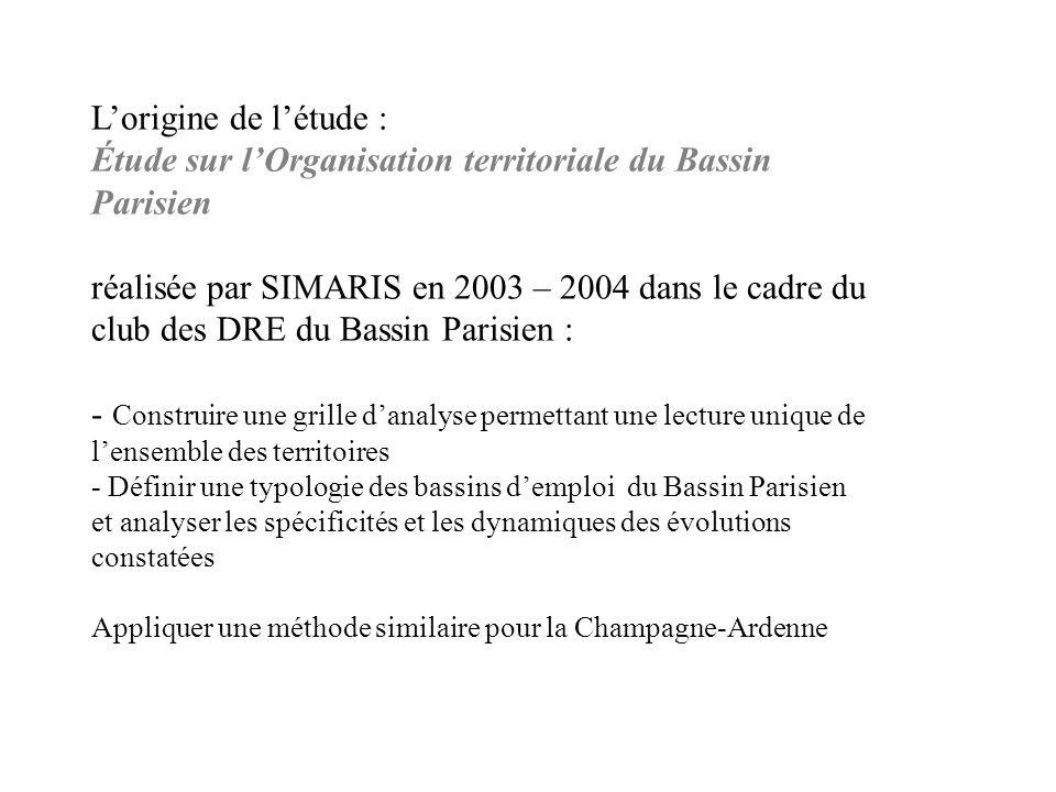 Lorigine de létude : Étude sur lOrganisation territoriale du Bassin Parisien réalisée par SIMARIS en 2003 – 2004 dans le cadre du club des DRE du Bass