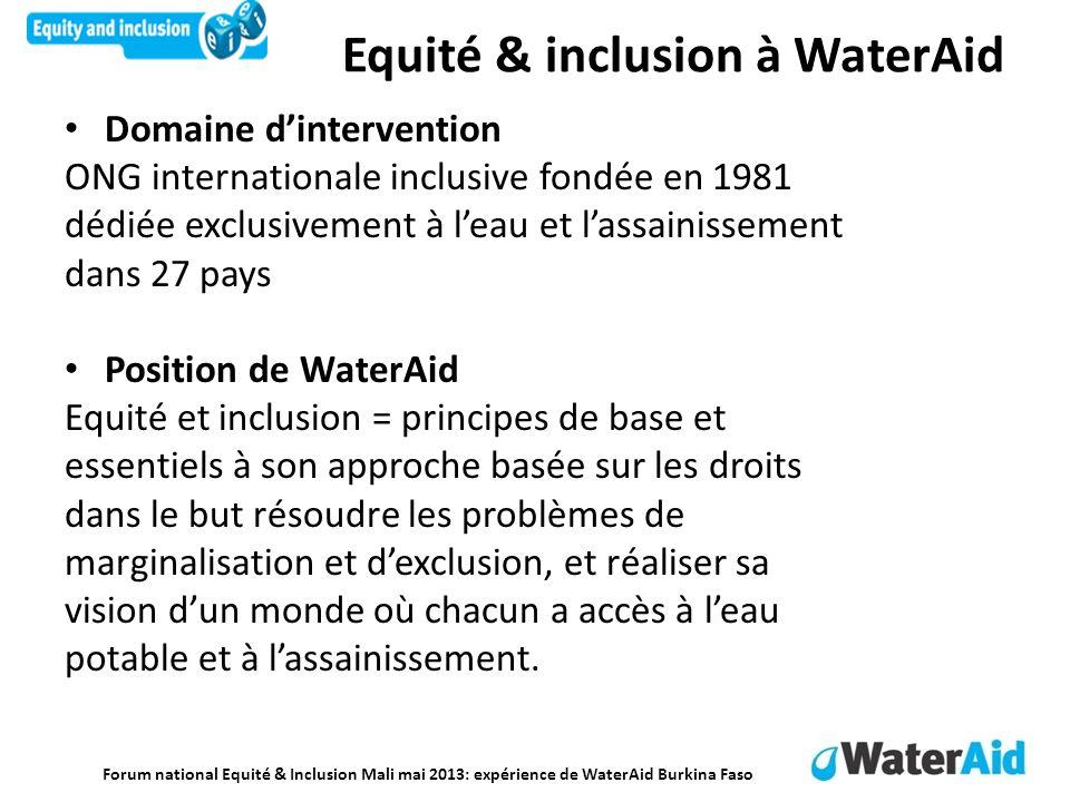 Forum national Equité & Inclusion Mali mai 2013: expérience de WaterAid Burkina Faso Equité & inclusion à WaterAid Domaine dintervention ONG internati