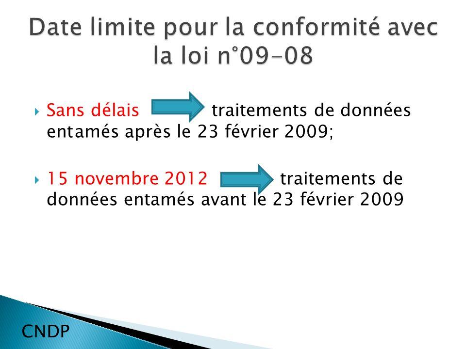Sans délais traitements de données entamés après le 23 février 2009; 15 novembre 2012 traitements de données entamés avant le 23 février 2009 CNDP