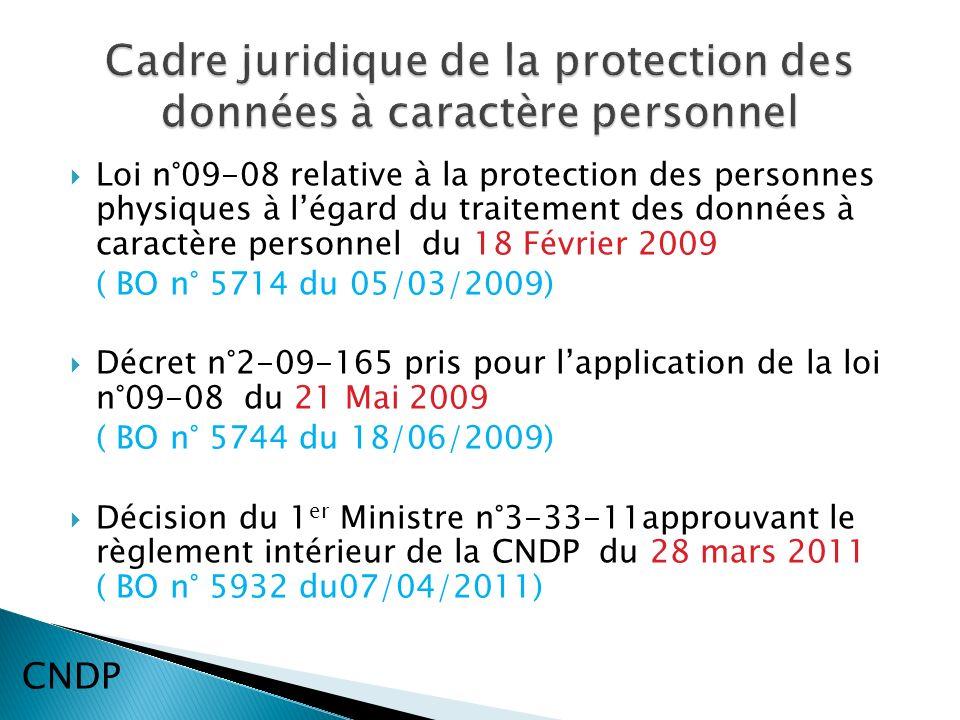 Loi n°09-08 relative à la protection des personnes physiques à légard du traitement des données à caractère personnel du 18 Février 2009 ( BO n° 5714 du 05/03/2009) Décret n°2-09-165 pris pour lapplication de la loi n°09-08 du 21 Mai 2009 ( BO n° 5744 du 18/06/2009) Décision du 1 er Ministre n°3-33-11approuvant le règlement intérieur de la CNDP du 28 mars 2011 ( BO n° 5932 du07/04/2011) CNDP