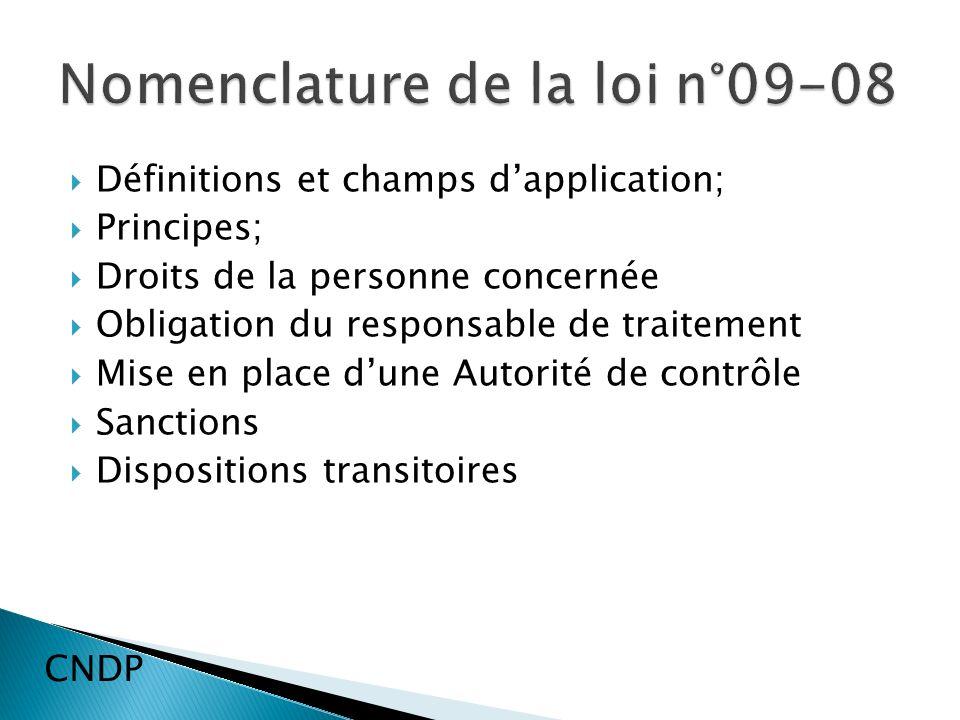 Définitions et champs dapplication; Principes; Droits de la personne concernée Obligation du responsable de traitement Mise en place dune Autorité de contrôle Sanctions Dispositions transitoires CNDP