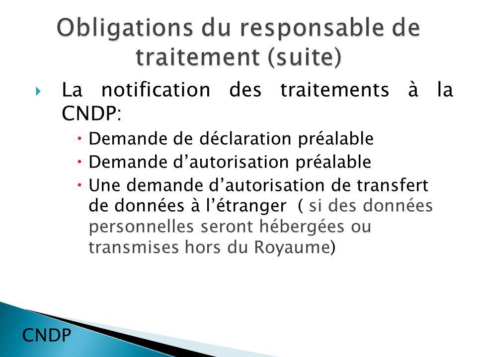 La notification des traitements à la CNDP: Demande de déclaration préalable Demande dautorisation préalable Une demande dautorisation de transfert de données à létranger ( si des données personnelles seront hébergées ou transmises hors du Royaume) CNDP