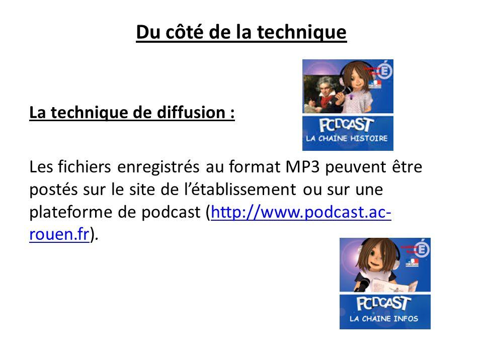 Du côté de la technique La technique de diffusion : Les fichiers enregistrés au format MP3 peuvent être postés sur le site de létablissement ou sur une plateforme de podcast (http://www.podcast.ac- rouen.fr).http://www.podcast.ac- rouen.fr