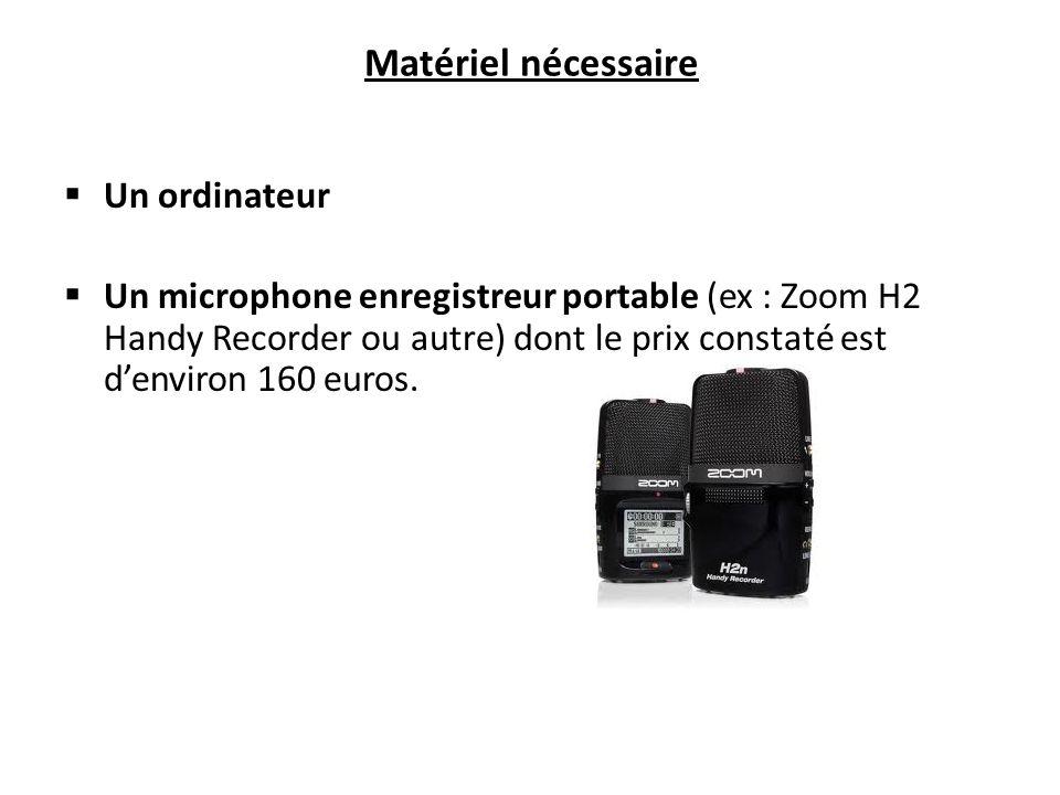 Matériel nécessaire Un ordinateur Un microphone enregistreur portable (ex : Zoom H2 Handy Recorder ou autre) dont le prix constaté est denviron 160 euros.