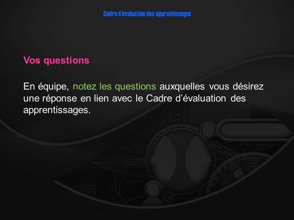 En équipe, notez les questions auxquelles vous désirez une réponse en lien avec le Cadre dévaluation des apprentissages.