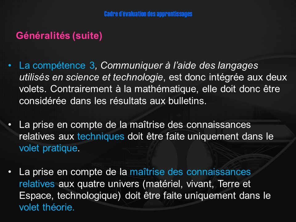 La compétence 3, Communiquer à laide des langages utilisés en science et technologie, est donc intégrée aux deux volets. Contrairement à la mathématiq