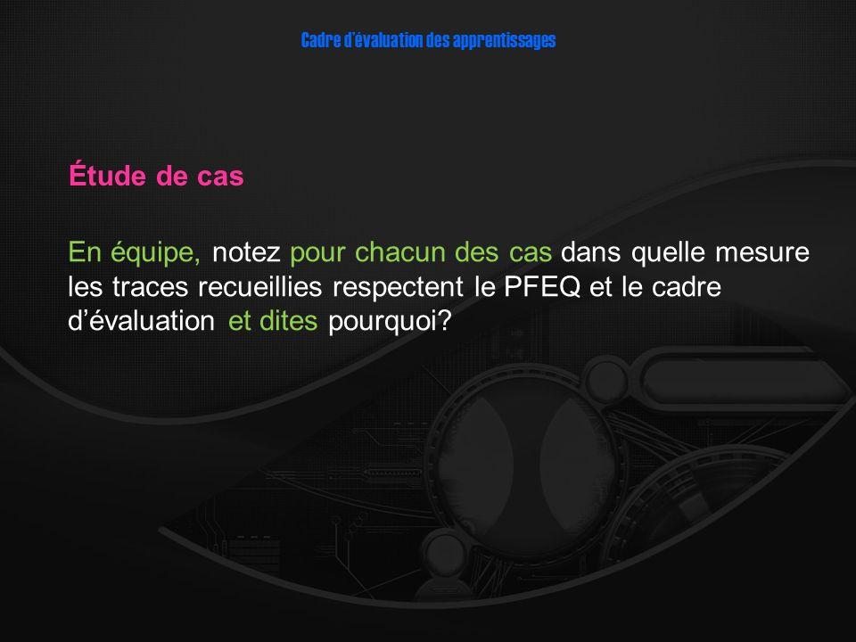 En équipe, notez pour chacun des cas dans quelle mesure les traces recueillies respectent le PFEQ et le cadre dévaluation et dites pourquoi.
