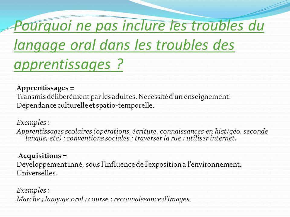 Quelles sont les diverses origines possibles des difficultés et troubles du langage oral et des apprentissages .