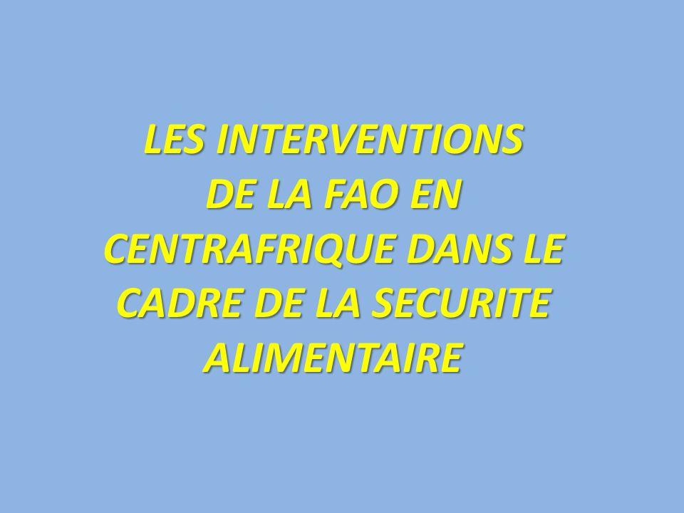 LES INTERVENTIONS DE LA FAO EN CENTRAFRIQUE DANS LE CADRE DE LA SECURITE ALIMENTAIRE