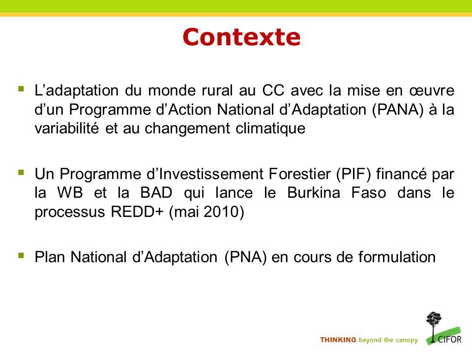 THINKING beyond the canopy Contexte Ladaptation du monde rural au CC avec la mise en œuvre dun Programme dAction National dAdaptation (PANA) à la vari