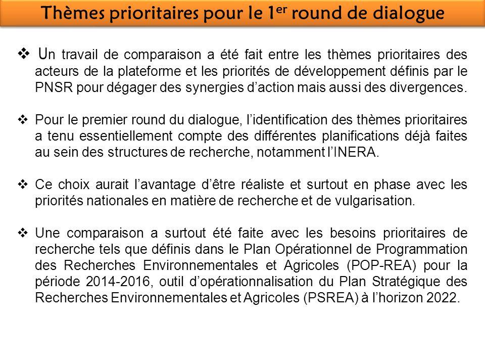 Thèmes prioritaires pour le 1 er round de dialogue U n travail de comparaison a été fait entre les thèmes prioritaires des acteurs de la plateforme et