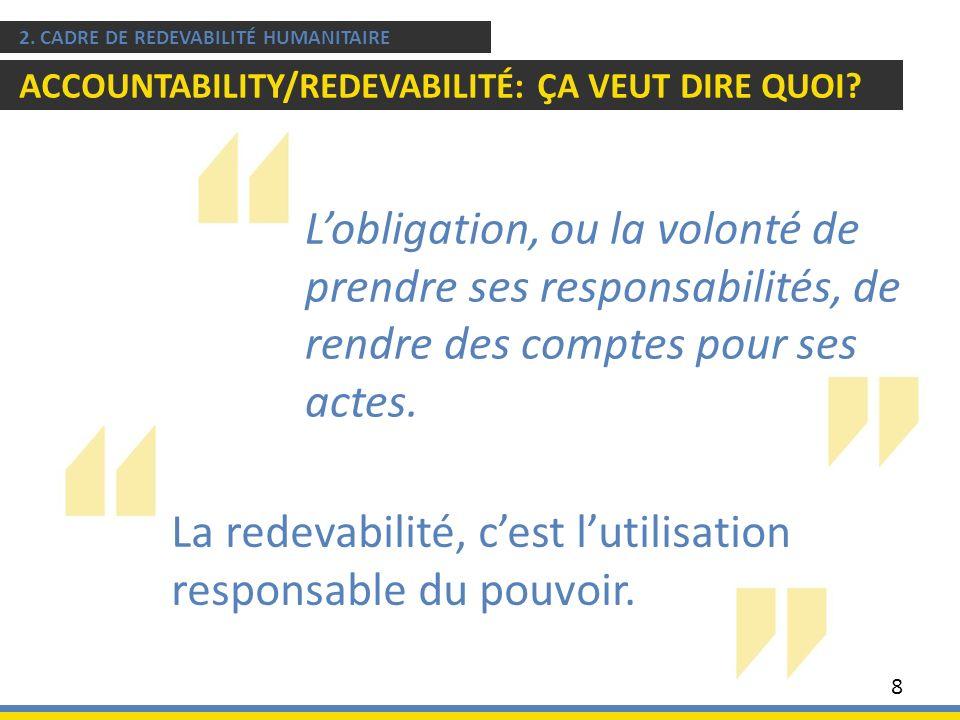 La redevabilité, cest lutilisation responsable du pouvoir. 2. CADRE DE REDEVABILITÉ HUMANITAIRE ACCOUNTABILITY/REDEVABILITÉ: ÇA VEUT DIRE QUOI? 8 Lobl