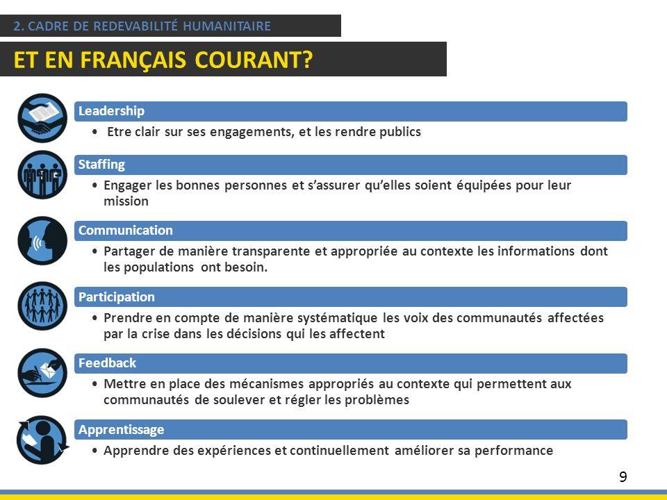9 2. CADRE DE REDEVABILITÉ HUMANITAIRE ET EN FRANÇAIS COURANT? Leadership Etre clair sur ses engagements, et les rendre publics Staffing Engager les b