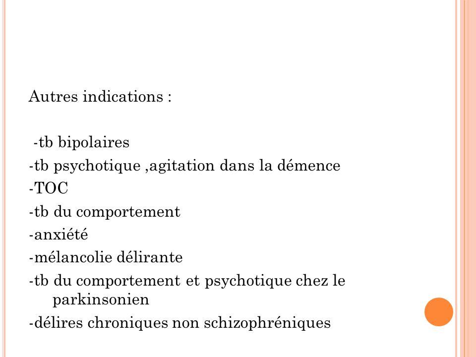 Autres indications : -tb bipolaires -tb psychotique,agitation dans la démence -TOC -tb du comportement -anxiété -mélancolie délirante -tb du comportement et psychotique chez le parkinsonien -délires chroniques non schizophréniques