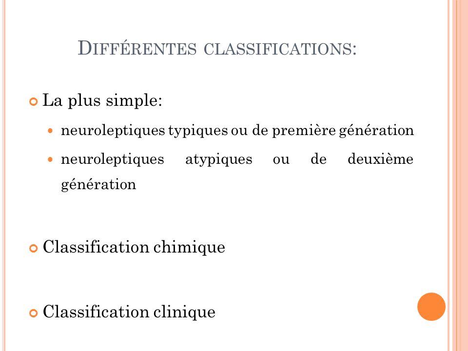 D IFFÉRENTES CLASSIFICATIONS : La plus simple: neuroleptiques typiques ou de première génération neuroleptiques atypiques ou de deuxième génération Classification chimique Classification clinique